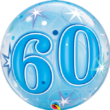 "60 Blue Starburst Bubble Balloon (22"") 1pc"